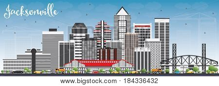 Jacksonville Skyline with Gray Buildings and Blue Sky. Business Travel and Tourism Concept with Modern Architecture. Image for Presentation Banner Placard and Web Site.