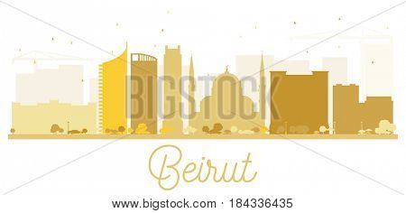 Beirut City skyline golden silhouette. Simple flat concept for tourism presentation, banner, placard or web site. Business travel concept. Cityscape with landmarks