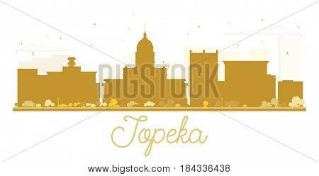 Topeka City skyline golden silhouette. Simple flat concept for tourism presentation, banner, placard or web site. Business travel concept. Cityscape with landmarks.
