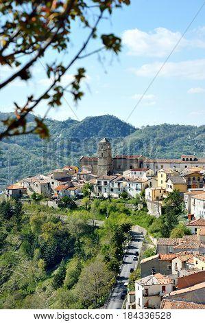Panoramic view of Pietrapertosa mountain village Basilicata Italy