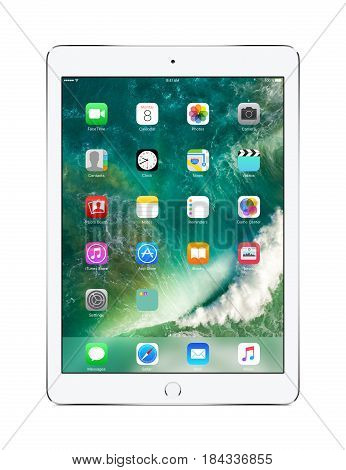 Varna Bulgaria - March 10 2016: Apple Silver iPad Pro with touch ID displaying iOS 10 designed by Apple Inc. Isolated on white background. High quality.