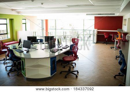 Empty computer class at school