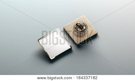 Blank white gold lapel badge mock up front and back side view 3d rendering. Empty luxury hard enamel pin mockup. Golden clasp-pin design template. Expensive square brooch for logo presentation.