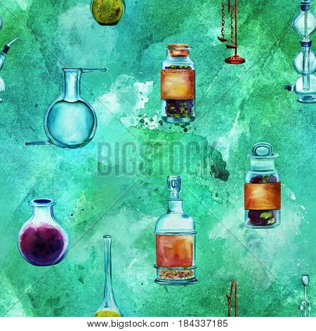 Vintage Science seamless background pattern with chemistry objects. Jars, bottles, containers, apparatuses, hand painted in watercolours on a blue green background, forming a repeat print poster