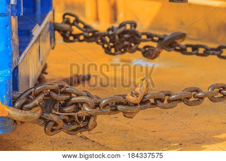 Big iron chain for bind prevent object that the motion on production platformEnergy and petroleum industry sea off shore