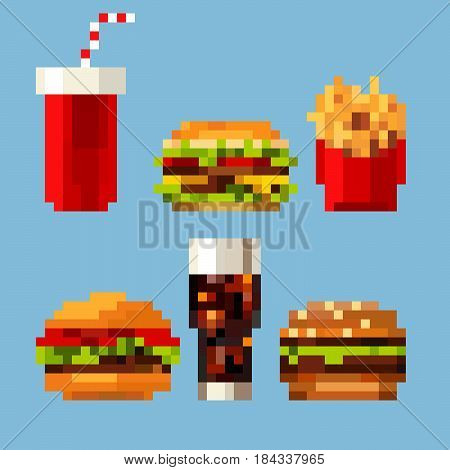 Pixel art fastfood set in style of eight-bit game