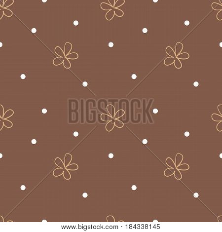 Brown seamless background with beige flowers and white dots. Cute floral pattern. Repeating vector background