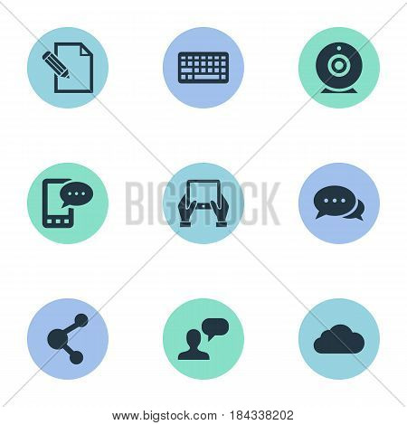 Vector Illustration Set Of Simple Blogging Icons. Elements Share, Argument, Keypad And Other Synonyms Considering, Laptop And Overcast.
