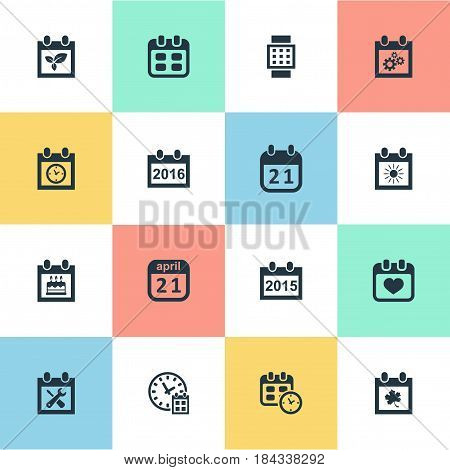 Vector Illustration Set Of Simple Date Icons. Elements Agenda, Date, Heart And Other Synonyms Annual, Agenda And Hour.