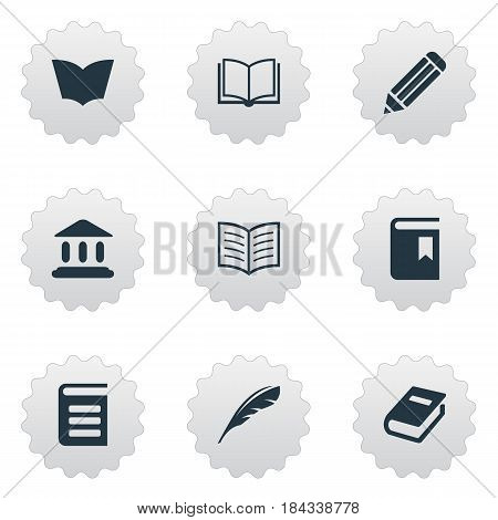 Vector Illustration Set Of Simple Knowledge Icons. Elements Pen, Encyclopedia, Book Cover And Other Synonyms School, Pen And Dictionary.