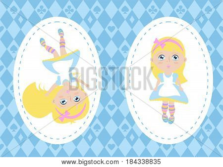 Alice in Wonderland. Characters cartoons in oval frame on chess background. Vector illustration