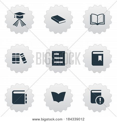 Vector Illustration Set Of Simple Books Icons. Elements Reading, Important Reading, Journal And Other Synonyms Reading, Document And Hat.