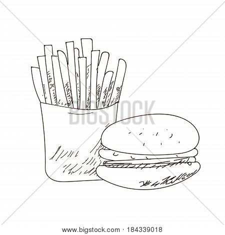 Set of fastfood hand-drawn outline drawings on white background. sandwich burger. Black lines.