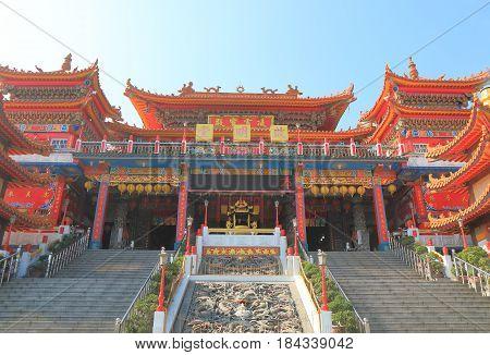KAOHSIUNG TAIWAN - DECEMBER 14, 2016: Chi Ming palace Lotus pond Kaohsiung Taiwan