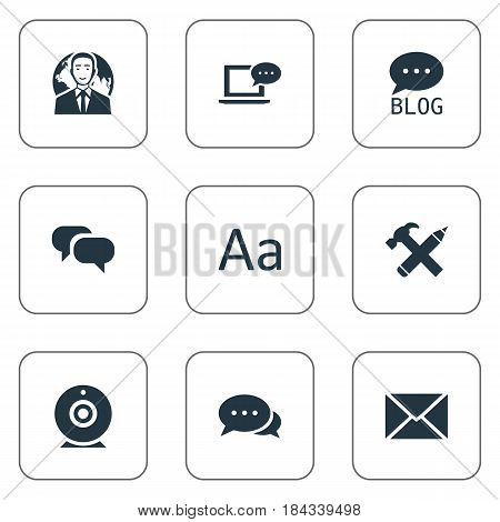 Vector Illustration Set Of Simple User Icons. Elements Post, Argument, Broadcast And Other Synonyms Message, Laptop And Typography.