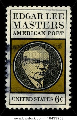 USA - CIRCA 1970: A stamp printed in USA shows image portrait Edgar Lee Masters (Garnett, Kansas, August 23, 1868 - Melrose Park, Pennsylvania, March 5, 1950) was an American poet circa 1970.