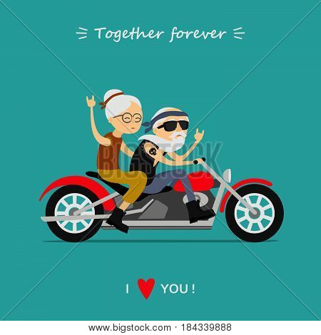 Happy grandparents day. Elderly couple on the motorcycle. Old man and old woman. Together forever. I love you. Greeting card, background.