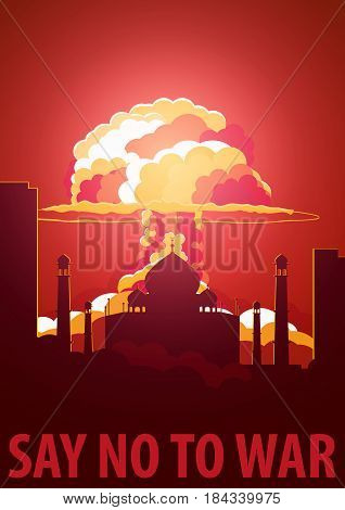 Nuclear Explosion In The City. India Say No To War. Cartoon Retro Poster. Vector Illustration.