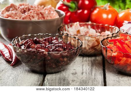 Ingredients Ready For Preparing Chili Con Carne. Mincemeat, Papr
