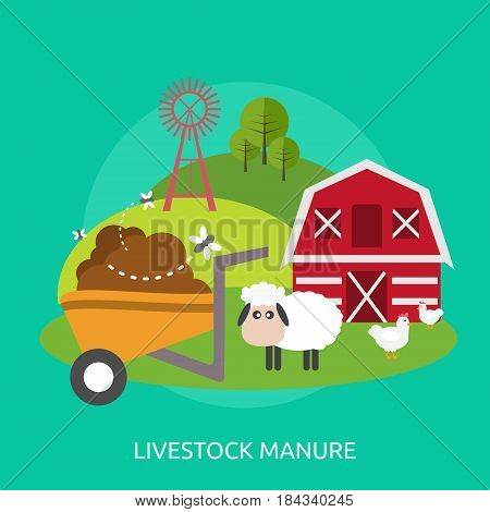 Livestock Manure Conceptual Design | Great flat illustration concept icon and use for industrial, agriculture, business, farm and much more.