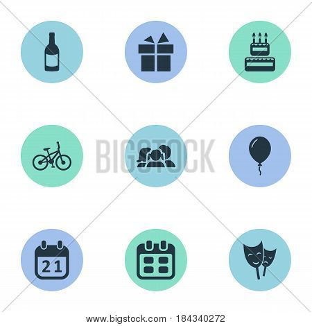 Vector Illustration Set Of Simple Holiday Icons. Elements Mask, Special Day, Days And Other Synonyms Confectionery, Champagne And Sweetmeat.