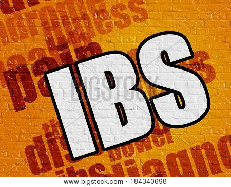 Modern medical concept: Ibs - Irritable Bowel Syndrome - on the Brickwall with Wordcloud Around . Yellow Brickwall with Ibs - Irritable Bowel Syndrome on the it .