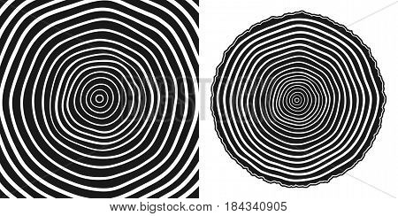 Tree rings and saw cut tree trunk background. Vector illustration