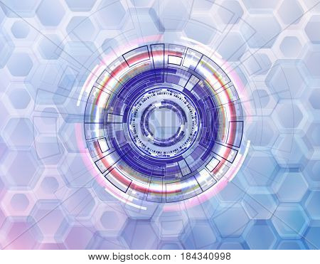 abstract technological circles and rings on a background of rounded hexagons on bright background