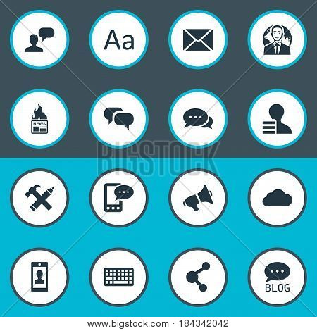 Vector Illustration Set Of Simple User Icons. Elements E-Letter, Gain, Profile And Other Synonyms Profit, Typography And Speaker.