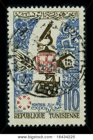 TUNISIA - CIRCA 1967: A stamp dedicated to the The 1967 International and Universal Exposition or Expo 67, Category One World's Fair held in Montreal, Quebec, Canada, circa 1967.