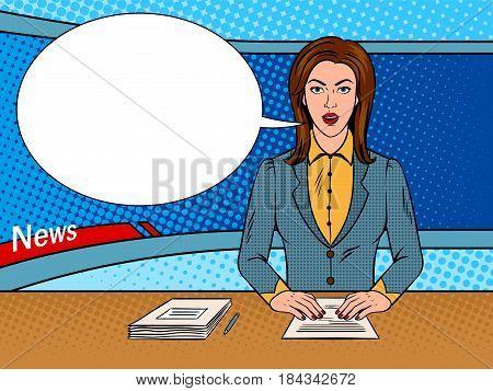 Newsreader reads news on TV pop art retro vector illustration. Comic book style imitation.