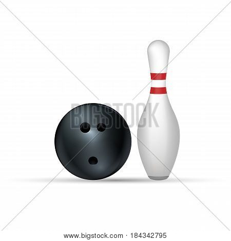 Bowling ball and pin isolated on white. Eps 10.