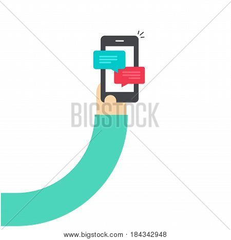 Cartoon hand holding smartphone with chatting notifications, flat style person hand with mobile phone and sms messages, bubbles on cellphone vector illustration
