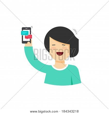 Cartoon happy smiling woman holding smartphone with chatting notifications, flat style female person with mobile phone and sms messages, bubbles on cellphone vector illustration