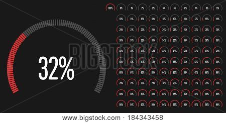 Set of circular sector percentage diagrams from 0 to 100 ready-to-use for web design, user interface (UI) or infographic - indicator with red