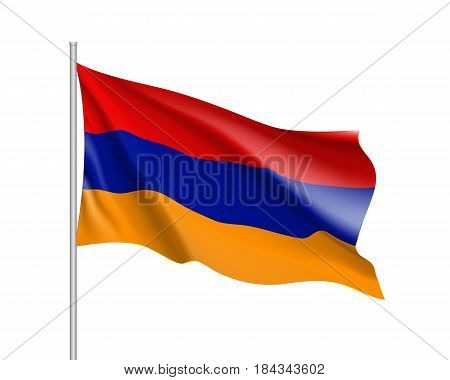 Armenia national flag, tricolour, three horizontal bands, red, blue, orange, symbolic element, patriotic symbol of country, educational and political concept, realistic vector illustration