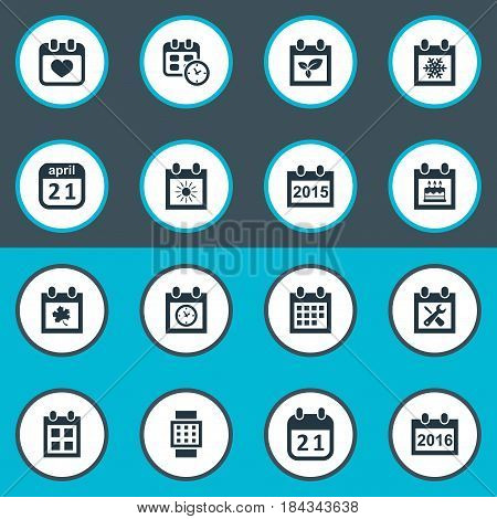 Vector Illustration Set Of Simple Time Icons. Elements Agenda, Date Block, Heart And Other Synonyms Block, Data And Summer.