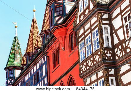 Old town Hall in Fulda, Germany.The mighty half-timbered house with its late Gothic arcades can draw on almost 500 years of history.