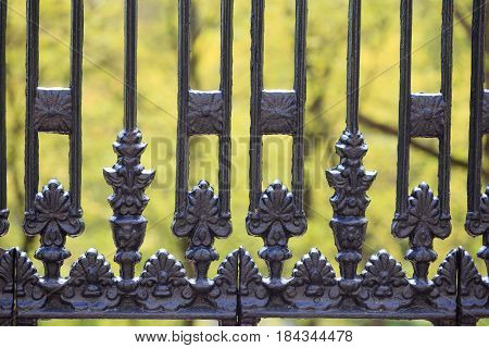 Beautiful Cast-iron Fence In The City Park In Spring