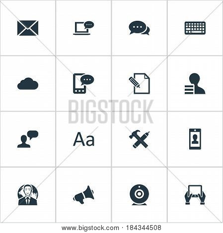 Vector Illustration Set Of Simple User Icons. Elements Keypad, Man Considering, Overcast And Other Synonyms Speaker, Cloud And Earnings.