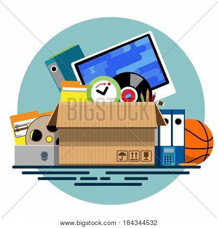 Illustration of a cardboard box with old things in a flat style. Box with old stuff vector. Monitor, clock, files, folder, a drum with a film, a music plate, a calculator, pencils, a basketball. Vector illustration Eps10 file
