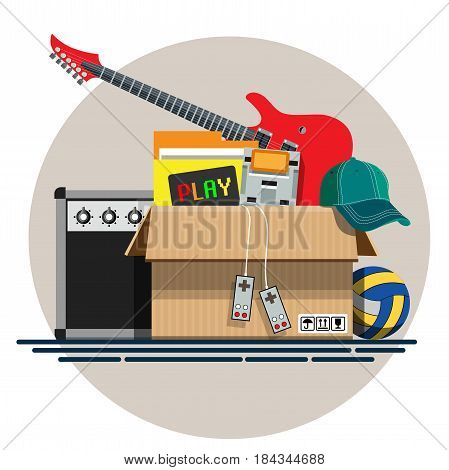 Illustration of a cardboard box with old things in a flat style. Box with old stuff vector. Guitar, cap, game console, volleyball. Vector illustration Eps10 file