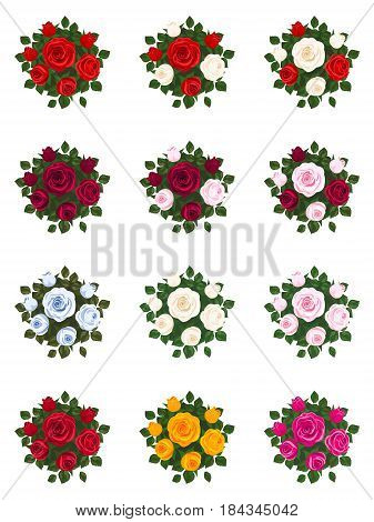 Set of bouquets of roses on  white background.Red rose, white rose, pink rose and other