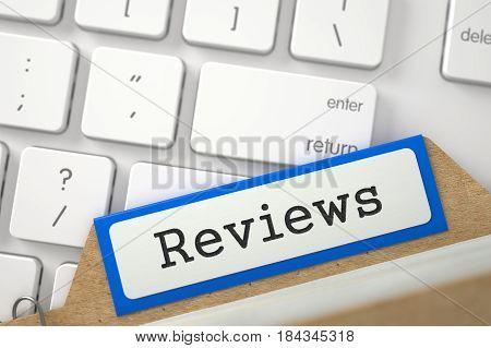 Reviews. Orange Card Index Overlies Computer Keyboard. Business Concept. Closeup View. Selective Focus. 3D Rendering.