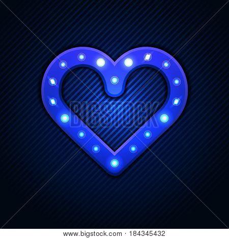 Vintage Light Bulb Banner. Retro Heart Banner With Shining Lights. Vector Illustration. Vector Illus
