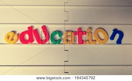 Education in colorful letter block