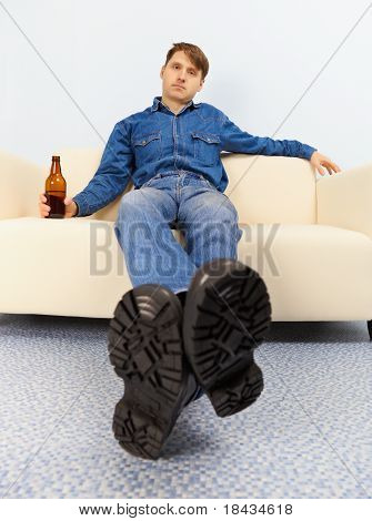 Drunk Dude Sprawled On Couch