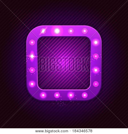 Retro Square Banner With Shining Bulb Lights In Casino Vegas Style. Vector Illustration.
