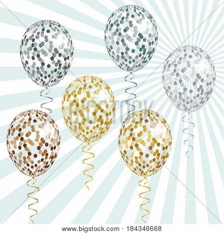 Transparent golden and silver balloons with spangles confetti and streamers. Vector illustration EPS10 for festive designs as holiday party celebration and greeting card