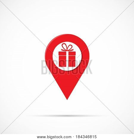 Marker location icon with gift box isolated on background. Vector illustration. Eps 10.